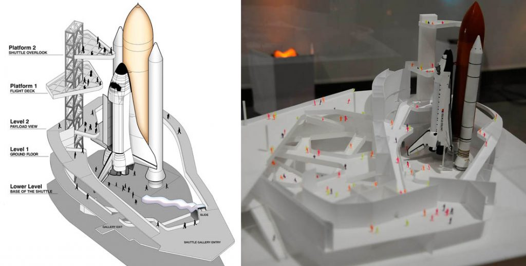 An illustration and a model depict the future Endeavour display plans. Credit: California Science Center and Gene Blevins/LA Daily News