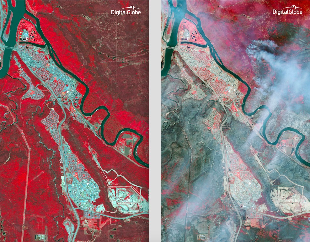 These wide view before and after images from DigitalGlobe's commercial WorldView 2 Earth observation satellite show the area around Fort McMurray,  Alberta, before and after the wildfire. The left image was taken May 29, 2015, and the right image is from May 6, 2016. In these false-color near-infrared images, the bright red areas represent healthy forest land, while burned areas are dark and gray. Credit: DigitalGlobe