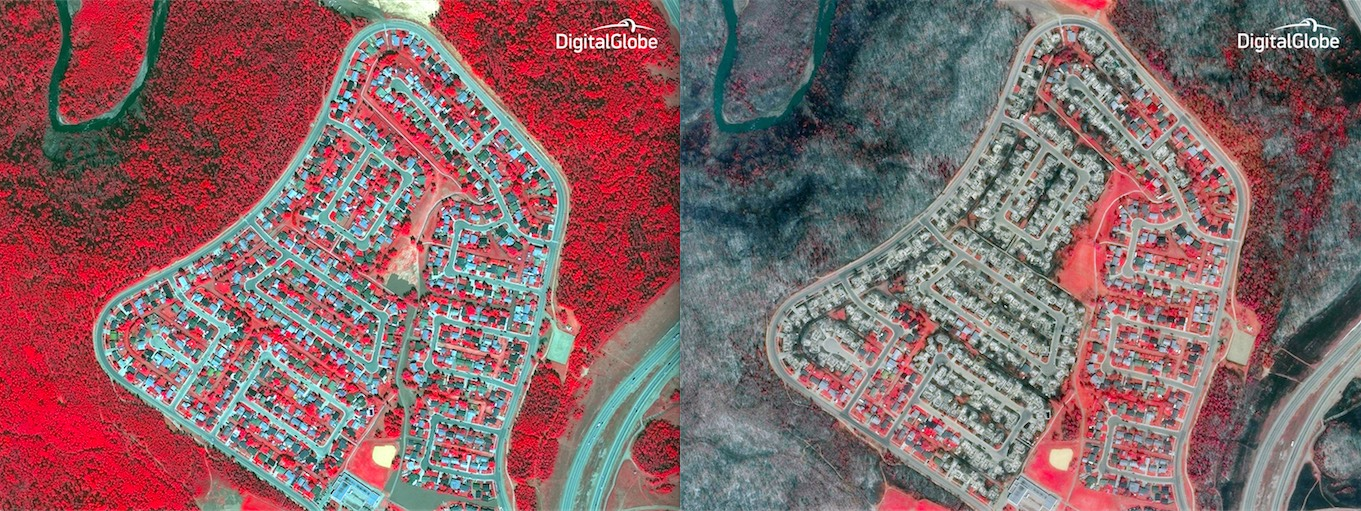 A close-up of a Fort McMurray, Alberta, neighborhood captured by DigitalGlobe's WorldView 2 imaging satellite show how the area looked before and after the wildfire. In the image on the right, taken May 6, many homes are destroyed. Credit: DigitalGlobes