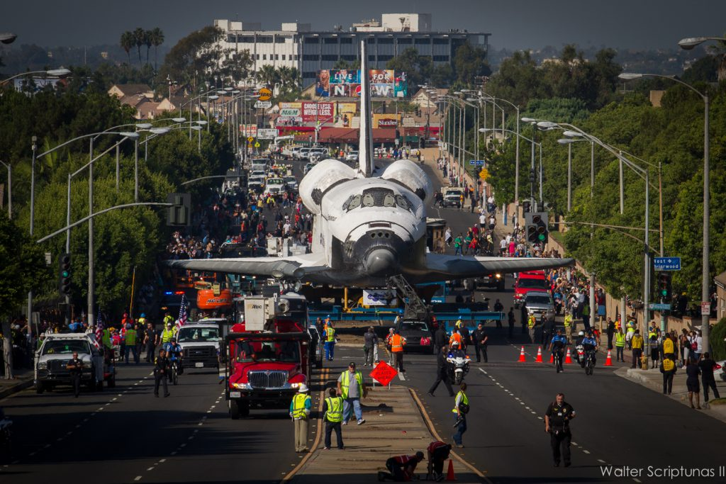 Today's tank parade was reminiscent of Endeavour's transfer from the Los Angeles International Airport to the California Science Center in October 2012. Photo by Credit: Walter Scriptunas II / Scriptunas Images / Spaceflight Now