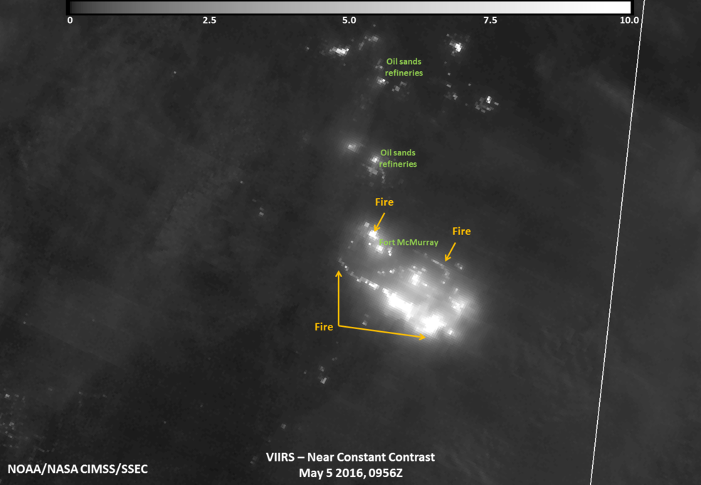 This night-time infrared view of the Fort McMurray Wildfire in Alberta was captured by the VIIRS instrument aboard NASA-NOAA's Suomi NPP satellite on May 5, 2016 at 0956 UTC (5:56 a.m. EDT). Credits: UWM/SSEC/CIMSS, William Straka III