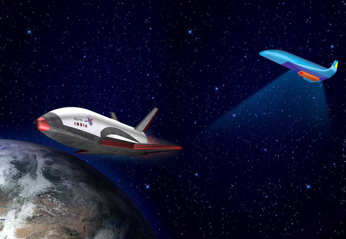 Artist's concept of India's reusable launch vehicle demonstrator. Credit: ISRO