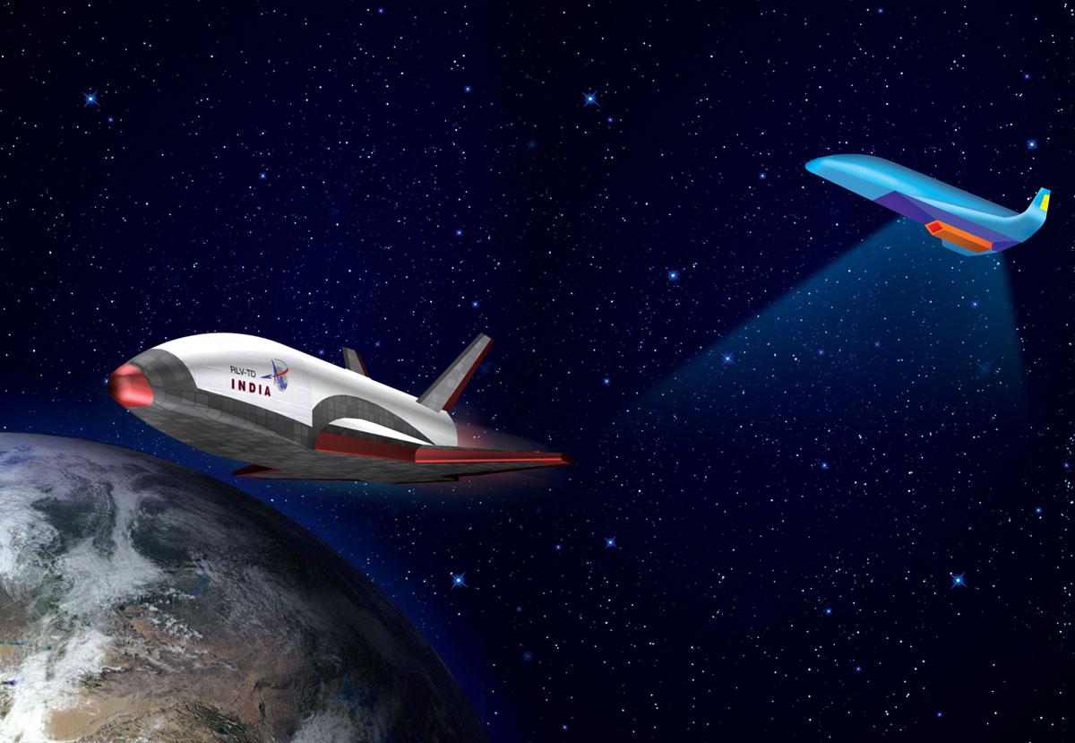 Artist's concept of India's reusable launch vehicle demonstrator. Credit: ISRO