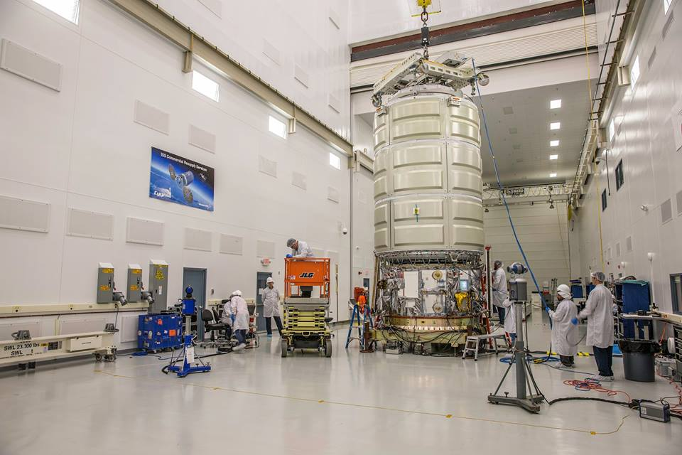 Orbital ATK technicians mated the Cygnus spacecraft's Italian-built cargo module to its U.S.-made service module earlier his month inside a clean room at NASA's Wallops Flight Facility in Virginia. Credit: NASA/Patrick Black