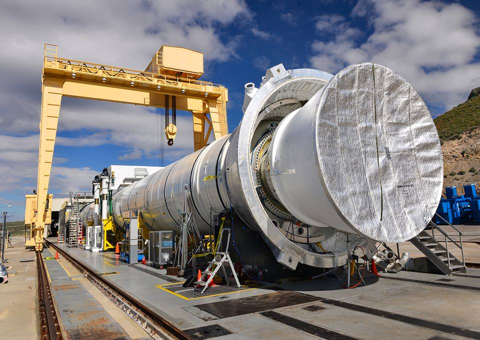 The qualification motor for Tuesday's Space Launch System booster test sits at Orbital ATK's test site in Utah. Credit: Orbital ATK