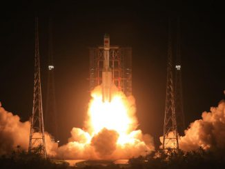 The Long March 7 rocket lifted off at 1200 GMT (8 a.m. EDT; 8 p.m. Beijing time) Saturday. Credit: Xinhua