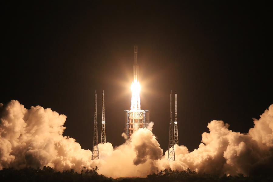 The first Long March 7 rocket launched Saturday from a new tropical spaceport on Hainan Island. Credit: Xinhua