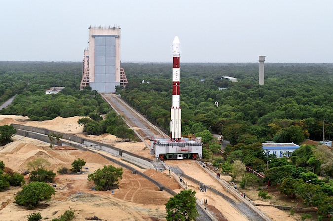 The 145-foot-tall (44-meter) PSLV XL vehicle rolls out to the Second Launch Pad at the Satish Dhawan Space Center for Wednesday's launch. Credit: ISRO