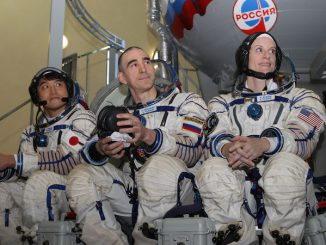 Japanese astronaut Takuya Onishi, Russian Soyuz commander Anatoly Ivanishin and NASA flight engineer Kate Rubins pause during their final Soyuz qualification exams May 27 in Star City, Russia. Credit: NASA/Stephanie Stoll