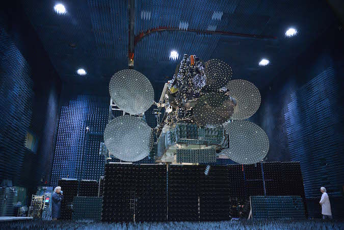 Intelsat 31/DLA-2 pictured inside the antenna test range at Space Systems/Loral's factory. Credit: Intelsat/SSL