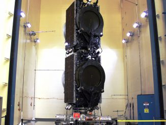 The ABS 2A and Eutelsat 117 West B satellites are seen before launch in a tandem stack configuration patented by Boeing. Credit: SpaceX