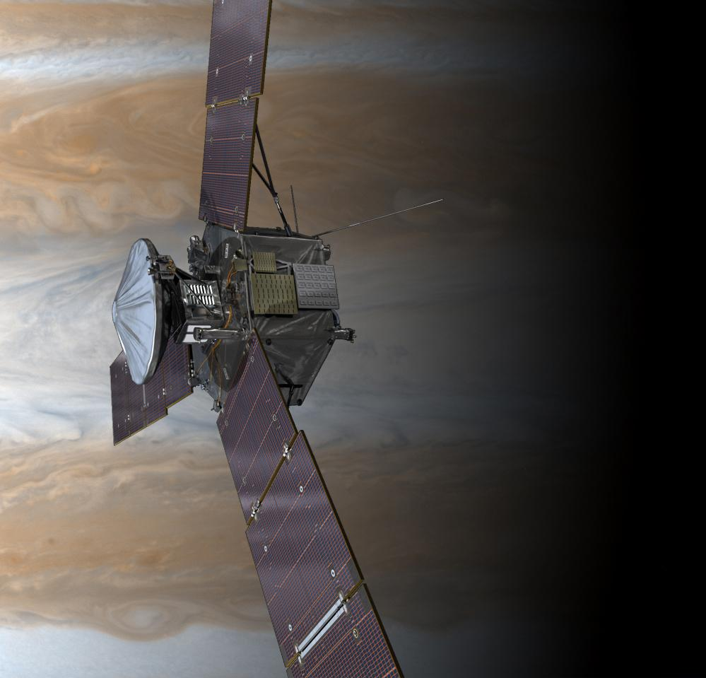 Artist's concept of the Juno spacecraft above Jupiter's clouds. Credit: NASA