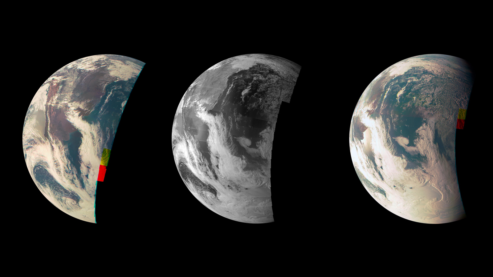 This trio of Junocam views of Earth was taken during Juno's close flyby on 9 October 2013. Credit: NASA/JPL-Caltech/MSSS