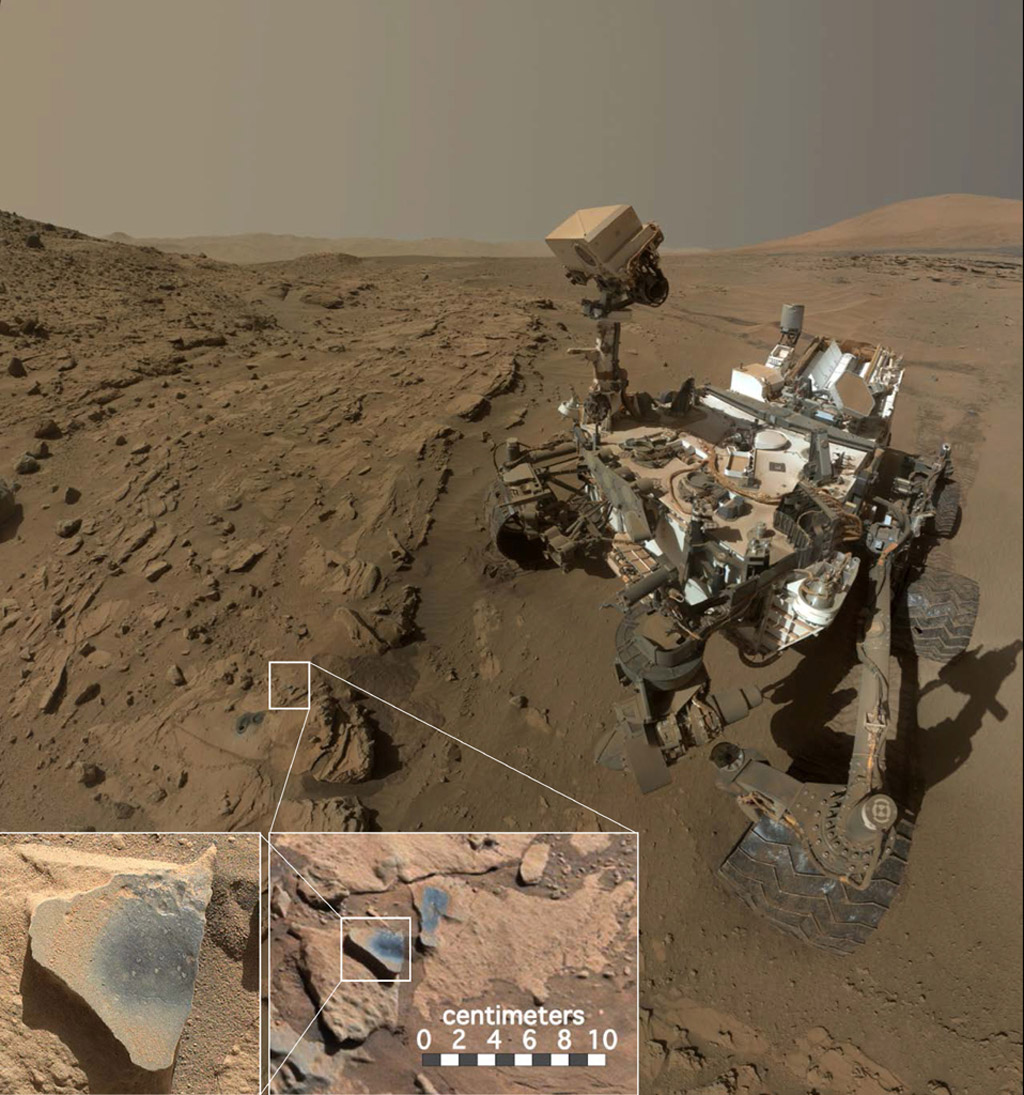 "This scene shows NASA's Curiosity Mars rover at a location called ""Windjana,"" where the rover found rocks containing manganese-oxide minerals, which require abundant water and strongly oxidizing conditions to form. Credit: NASA/JPL-Caltech/MSSS"
