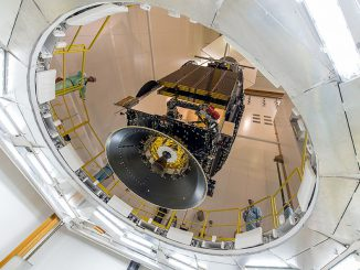 The EchoStar 18 broadcast satellite for DISH Network is lowered onto its Ariane 5 attach fitting May 13. Credit: ESA/CNES/Arianespace – Photo Optique Video du CSG – JM Guillon