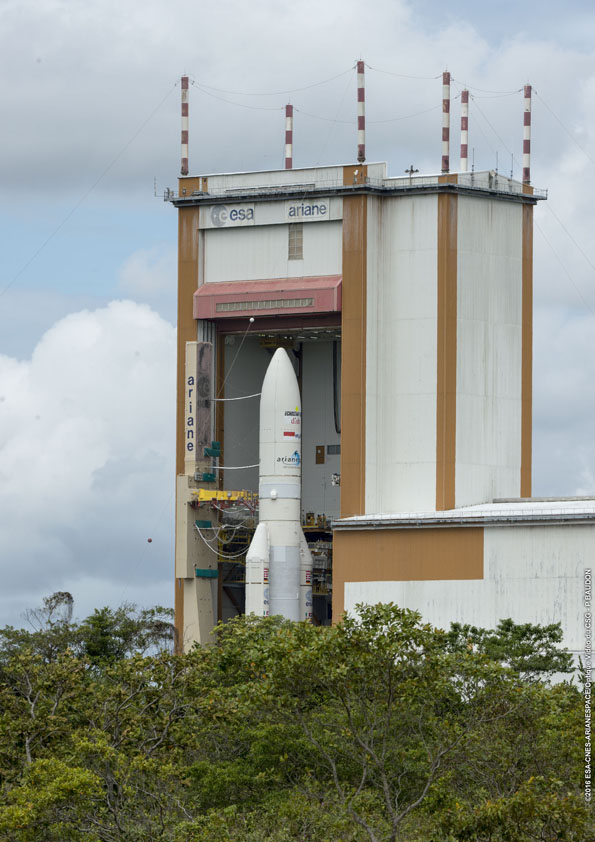 The Ariane 5 rocket emerges from the final assembly building in Kourou, French Guiana, for Thursday's rollout. Credit: ESA/CNES/Arianespace – Photo Optique Video du CSG – P. Baudon