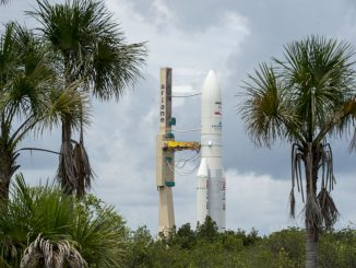 The Ariane 5 is seen during Thursday's rollout. Credit: ESA/CNES/Arianespace – Photo Optique Video du CSG – P. Baudon