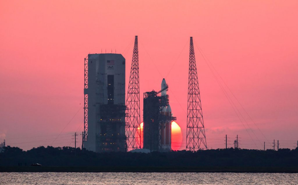 The sun rises on Delta 4-Heavy for NROL-15 launch in 2012. Credit: Walter Scriptunas II / Scriptunas Images
