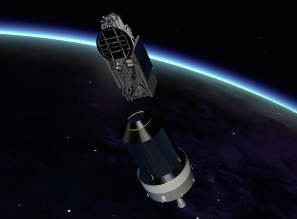 The EchoStar 18 satellite, riding in the upper position on the Ariane 5's dual-payload stack, deploys to begin a 15-year television broadcast mission for DISH Network.