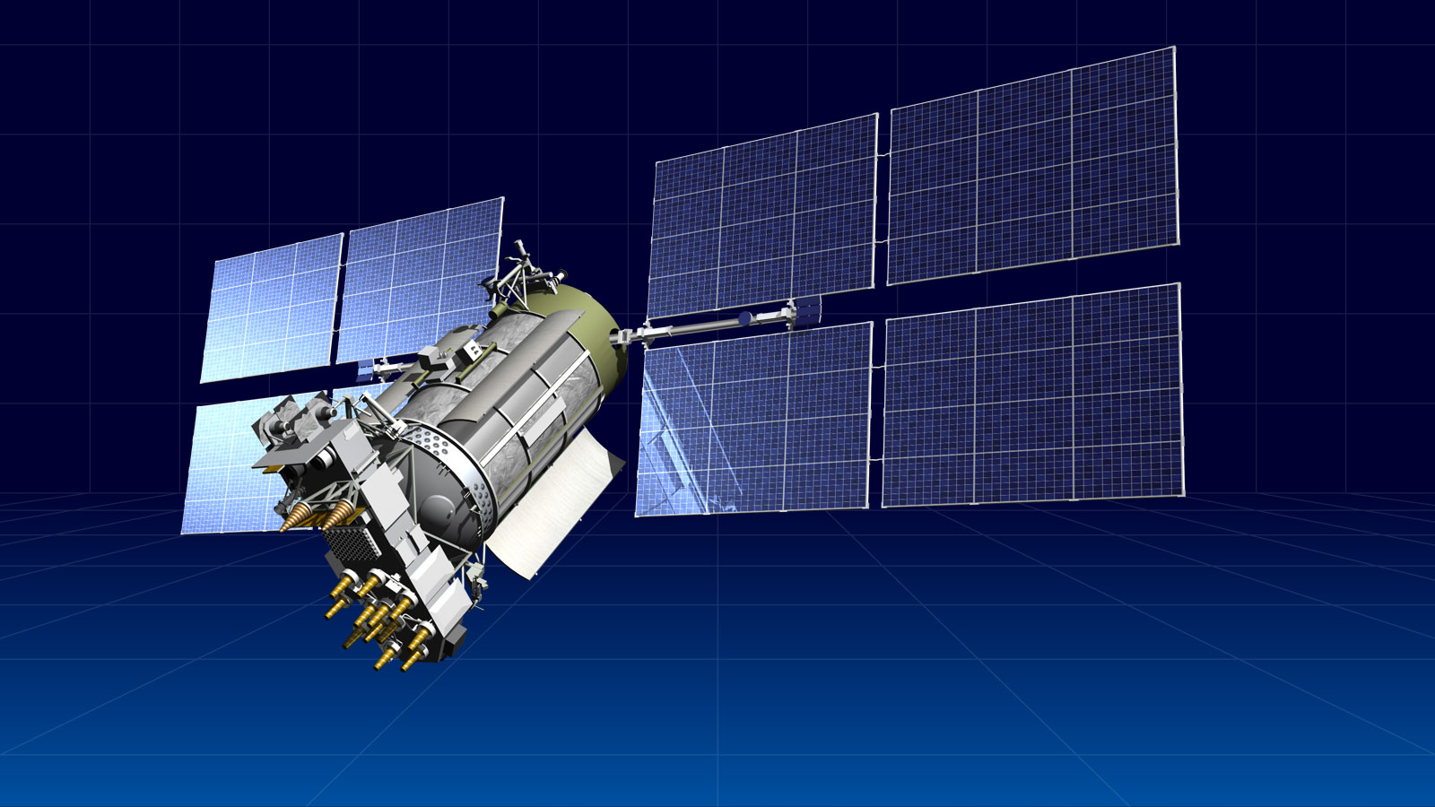 Artist's concept of a Glonass M navigation satellite. Credit: ISS Reshetnev