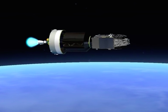 The Ariane 5's upper stage HM7B engine ignites for a 16-minute, 27-second burn to place the EchoStar 18 and BRIsat satellites into geostationary transfer orbit. The HM7B engine burns liquid hydrogen and liquid oxygen, and generates more than 14,000 pounds of thrust.