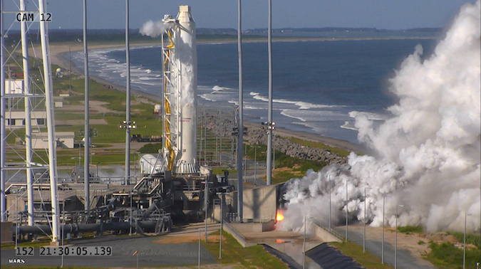The Antares rocket's two RD-181 engines fired on a launch pad at Wallops Island, Virginia, on May 31. Credit: NASA