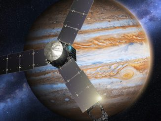 Artist's concept of the Juno spacecraft on approach to Jupiter. Credit: Lockheed Martin