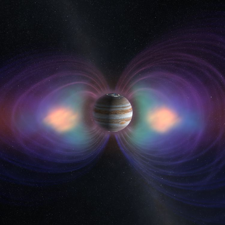 An illustration of Jupiter's magnetosphere, radiation belts and aurorae. Credit: SWRI