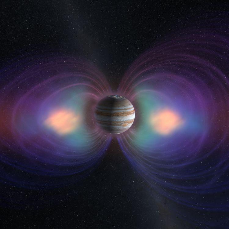 An illustration of Jupiter's magnetosphere, radiation belts and aurorae. Credit: SWRI