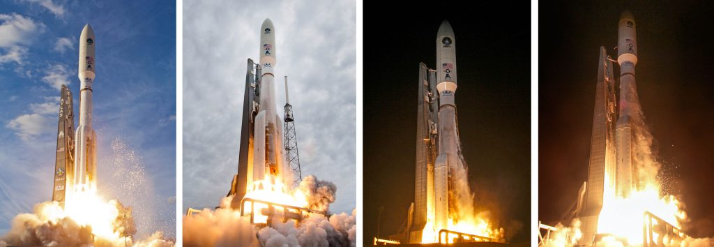 Launches of MUOS 1 thru 4. Credit: United Launch Alliance