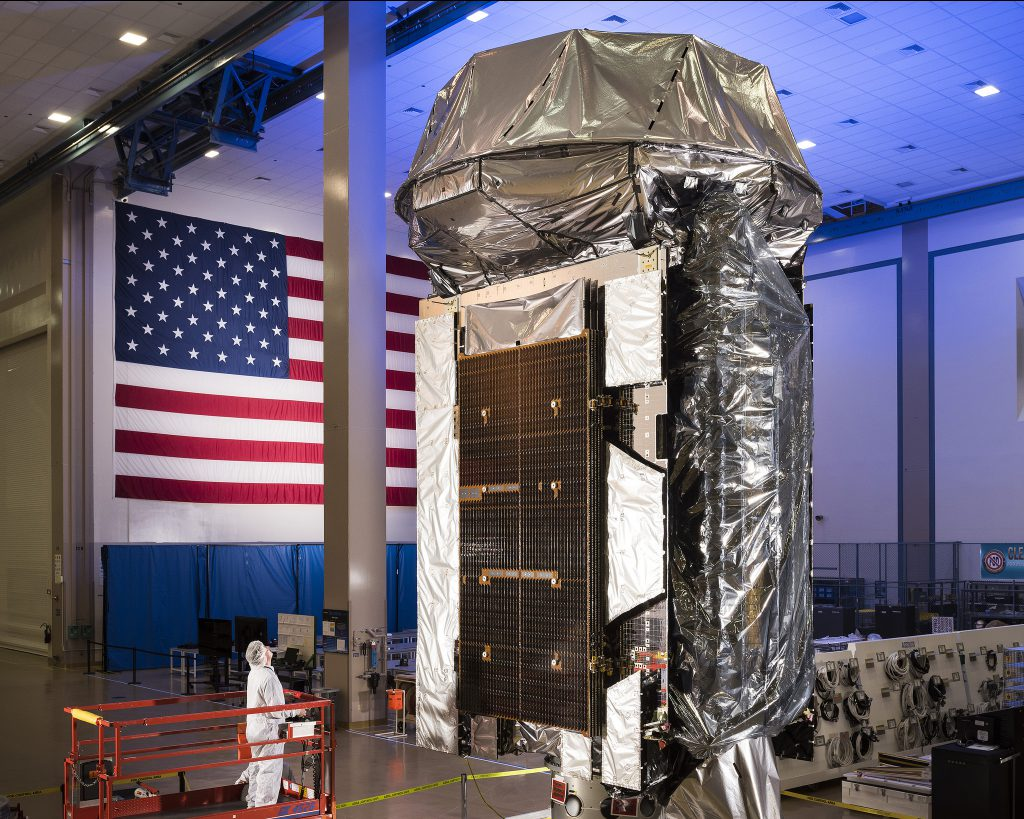 MUOS 5 in the factory. Credit: Lockheed Martin