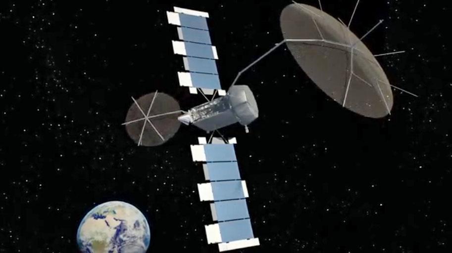 An artist's concept of MUOS 5 in orbit. Credit: Navy