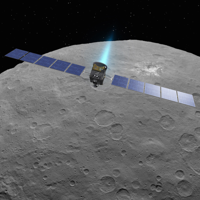 Artist's concept of the Dawn spacecraft, with its ion propulsion system active, in orbit around the dwarf planet Ceres. Credit: NASA/JPL-Caltech/UCLA/MPS/DLR/IDA