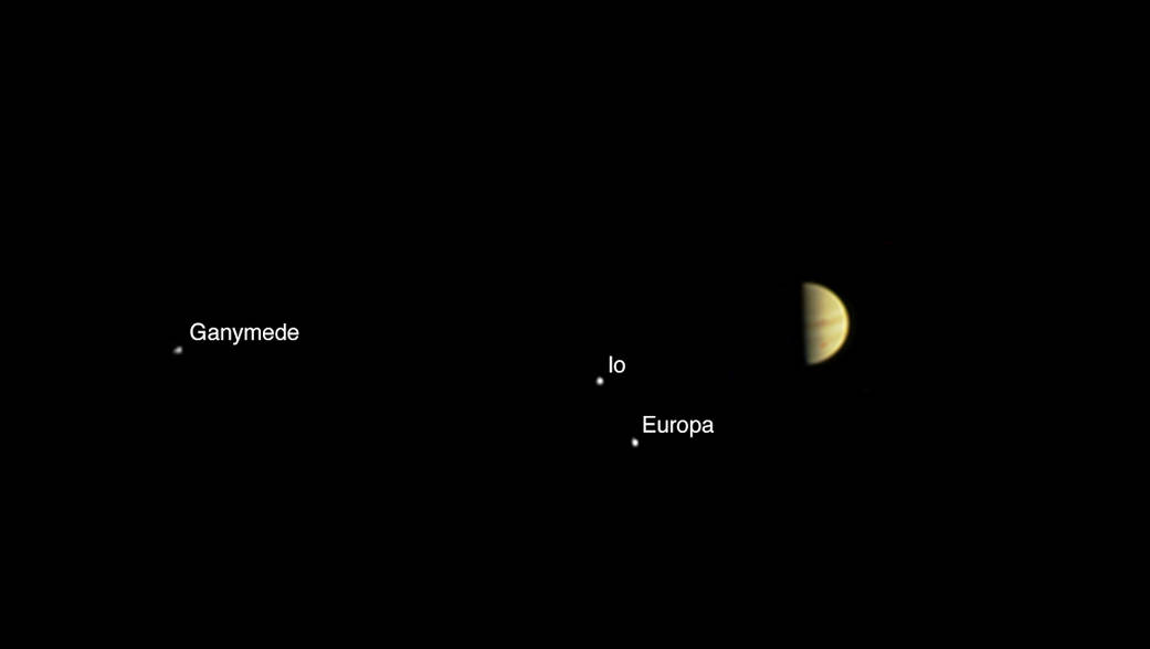 The JunoCam instrument aboard NASA's Juno spacecraft recorded this view of Jupiter and three of its moons Tuesday at a range of 3.9 million miles (6.2 million kilometers). JunoCam, like Juno's other instruments, was turned off Wednesday. Credit: NASA/JPL-Caltech/SwRI/MSSS