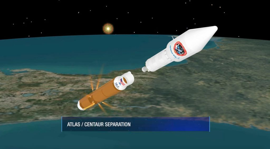 An artist's depiction of the first stage separating from Centaur during the Cygnus launch. Credit: ULA