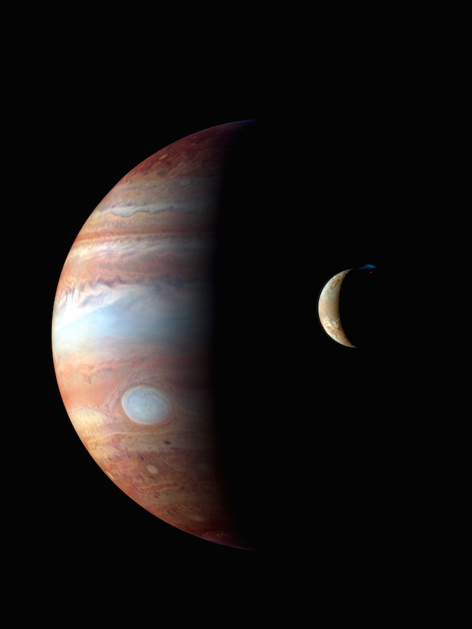 This montage of images captured by NASA's Pluto-bound New Horizons during a gravity assist flyby in February 2007 shows Jupiter and its volcanic moon Io. Credit: NASA/JHUAPL/SWRI