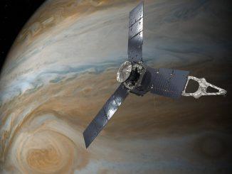 Artist's concept of the Juno spacecraft at Jupiter. Credit: NASA/JPL-Caltech