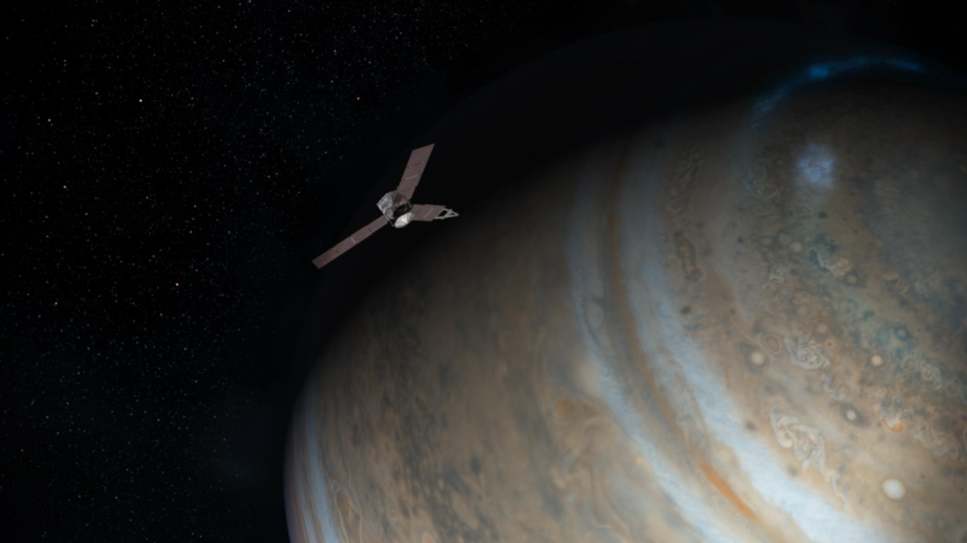 NASA's Juno spacecraft, spinning once every 12 seconds for stability, fired its main engine for more than 35 minutes Monday to brake into orbit around Jupiter. Credit: NASA/JPL-Caltech