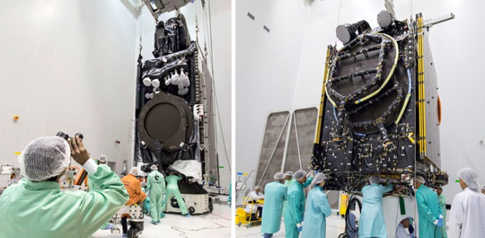 The Intelsat 33e (left) and Intelsat 36 (right) satellites undergo launch preparations at the Guiana Space Center. Credit: Arianespace