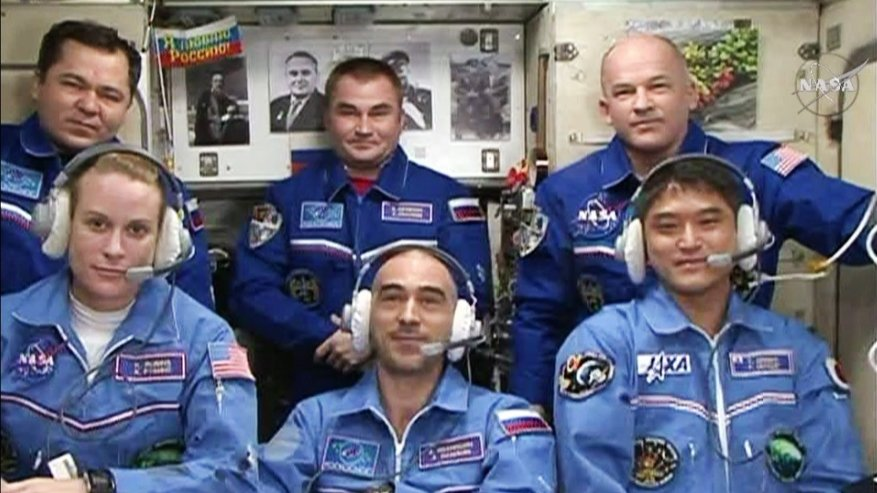 The International Space Station now hosts a six-person crew. Credit: NASA TV/Spaceflight Now