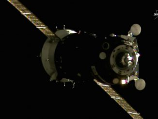 The Soyuz MS-01 spacecraft approaches the Rassvet docking port for docking early Saturday. Credit: NASA TV/Spaceflight Now