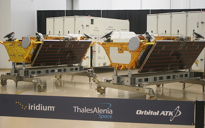The first two fully-complete Iridium Next satellites. Credit: Stephen Clark/Spaceflight Now