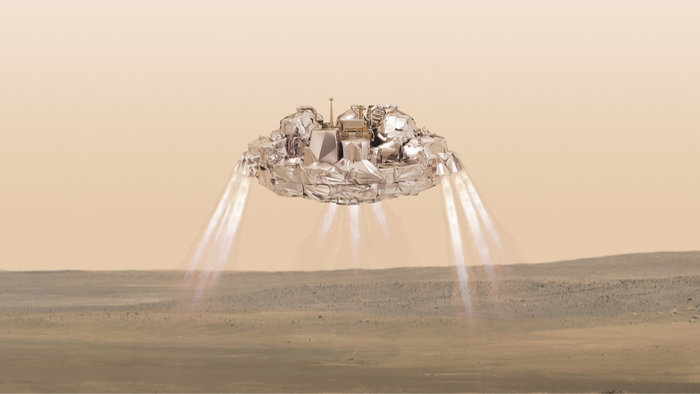 Artist's concept of the Schiaparelli lander's descent thrusters during the final phase of its approach to Meridiani Planum on Mars. Credit: ESA/ATG medialab