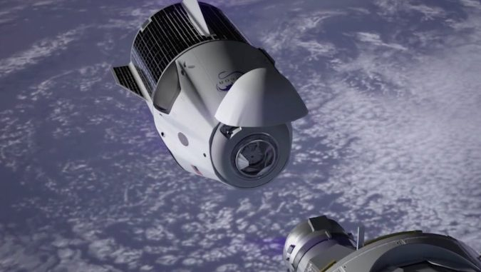 Artist's concept of a SpaceX Crew Dragon on final approach to the International Space Station. Credit: SpaceX