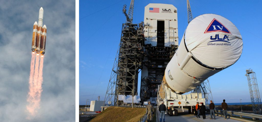 Left: Delta 4-Heavy launch June 11; Right: File of Delta 4-Medium+ (4,2) rollout. Credit: Walter Scriptunas II / Scriptunas Images and NASA-KSC
