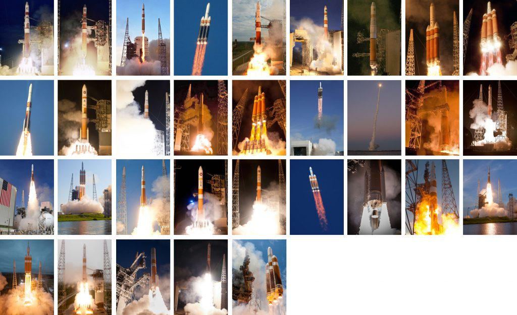 All 32 launches by the Delta 4 rocket for the Defense Department, National Reconnaissance Office and commercial clients. Photos by Thom Baur, Carleton Bailie, Pat Corkery, Gene Blevins, Ben Cooper, Walter Scriptunas II, Alex Polimeni and Justin Ray