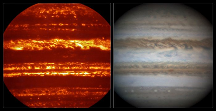 This view compares a lucky imaging view of Jupiter recently acquired from the European Southern Observatory's Very Large Telescope at infrared wavelengths with a very sharp amateur image in visible light from about the same time (right). The image acquired from a mid-infrared imager and spectrometer at the Very Large Telescope will aid Juno's observations of Jupiter's atmosphere. Credit: ESO/L.N. Fletcher/Damian Peach
