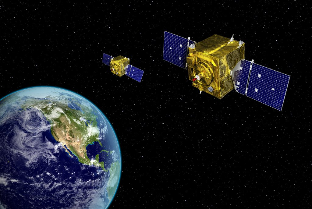 An artist's concept of a GSSAP satellite pair. Credit: Air Force