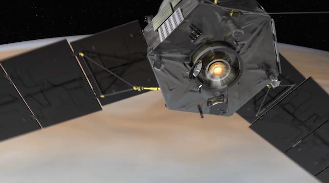 Artist's concept of Juno's Leros 1b main engine during the orbit insertion burn. Credit: NASA/JPL-Caltech