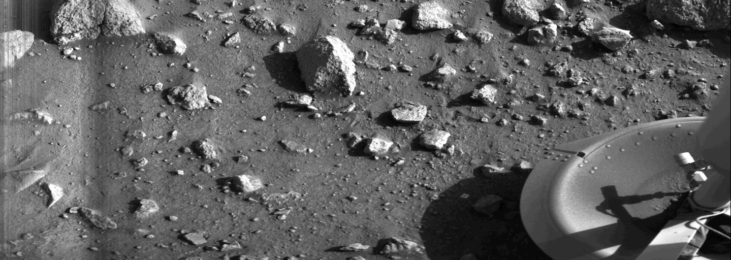 Taken by the Viking 1 lander shortly after it touched down on Mars on July 20, 1976, this image is the first photograph ever taken from the surface of Mars. Credit: NASA